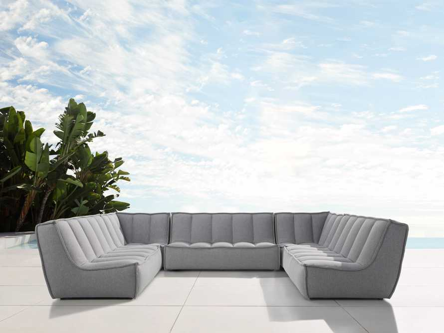 """Porto Outdoor Upholstered 138"""" Five Piece Sectional in Southend Grey, slide 1 of 6"""