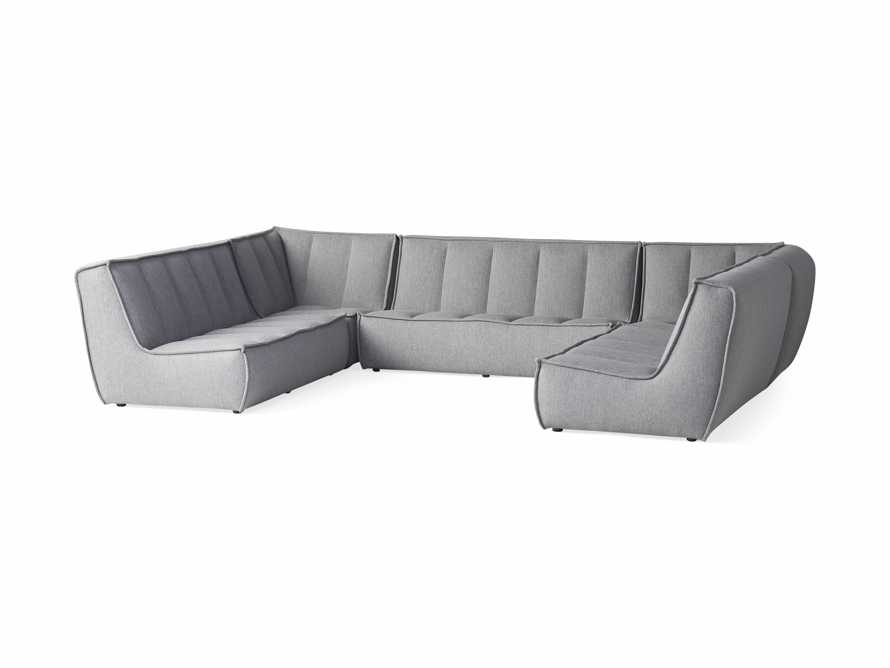 """Porto Outdoor Upholstered 138"""" Five Piece Sectional in Southend Grey, slide 3 of 6"""