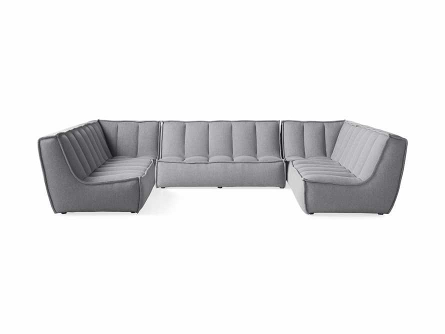 """Porto Outdoor Upholstered 138"""" Five Piece Sectional in Southend Grey, slide 2 of 6"""