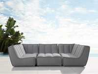 """Porto Outdoor Upholstered 114"""" Six Piece Sectional in Southend Grey"""