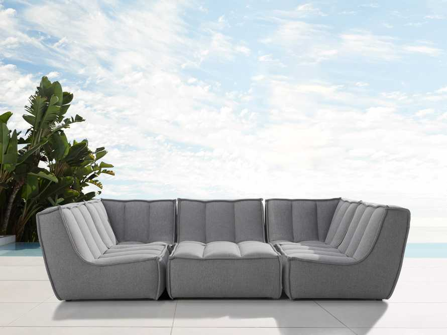 """Porto Outdoor Upholstered 114"""" Six Piece Sectional in Southend Grey, slide 1 of 6"""