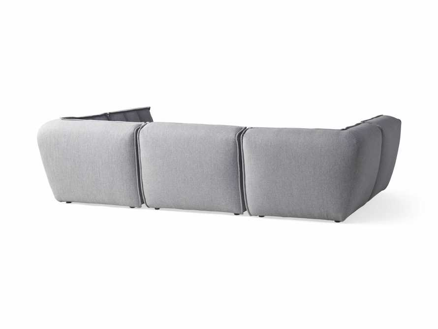 """Porto Outdoor Upholstered 114"""" Six Piece Sectional in Southend Grey, slide 3 of 6"""