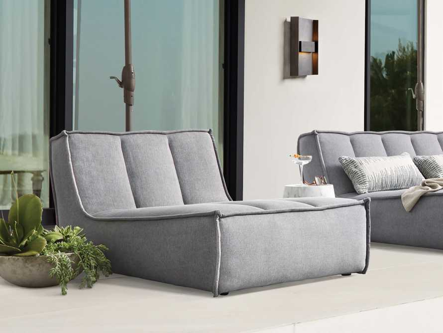 """Porto Outdoor Upholstered 36"""" Chaise in Southend Grey, slide 1 of 7"""