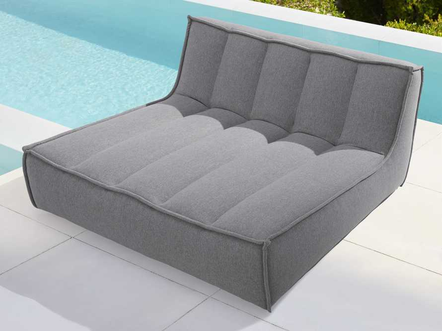 """Porto Outdoor Upholstered 60"""" Double Chaise in Southend Grey, slide 2 of 7"""