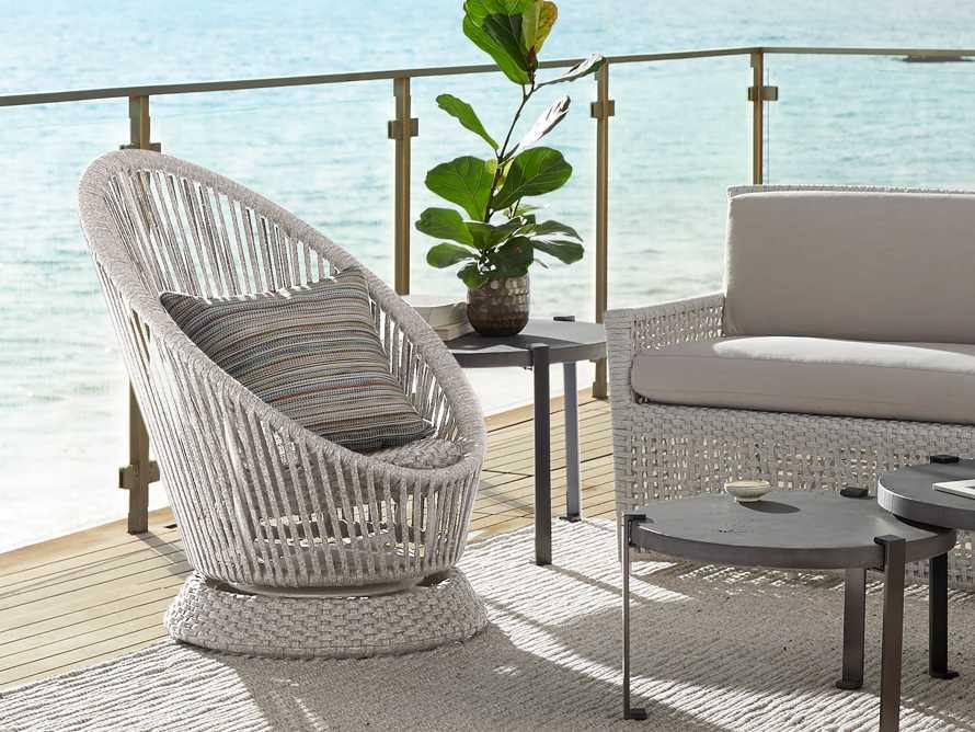 "Sevilla Outdoor 34"" Swivel Chair in White"