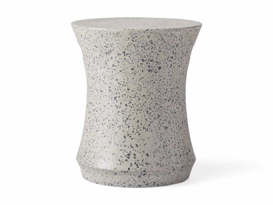 "Terrazzo Stool Outdoor 14.5"" Stone End Table in Grey/black Terrazzo, slide 3 of 5"