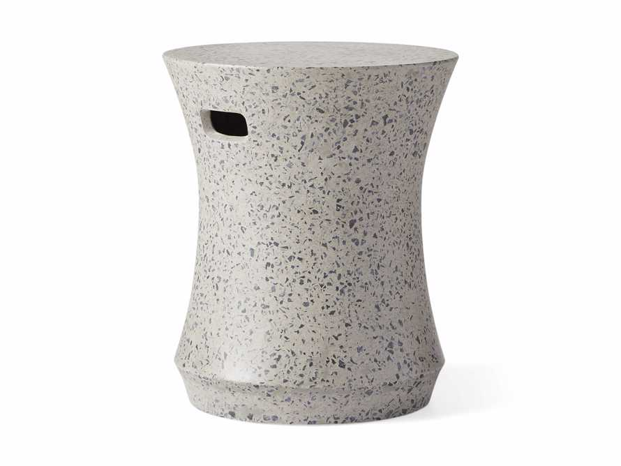 "Terrazzo Stool Outdoor 14.5"" Stone End Table in Grey/black Terrazzo, slide 4 of 5"