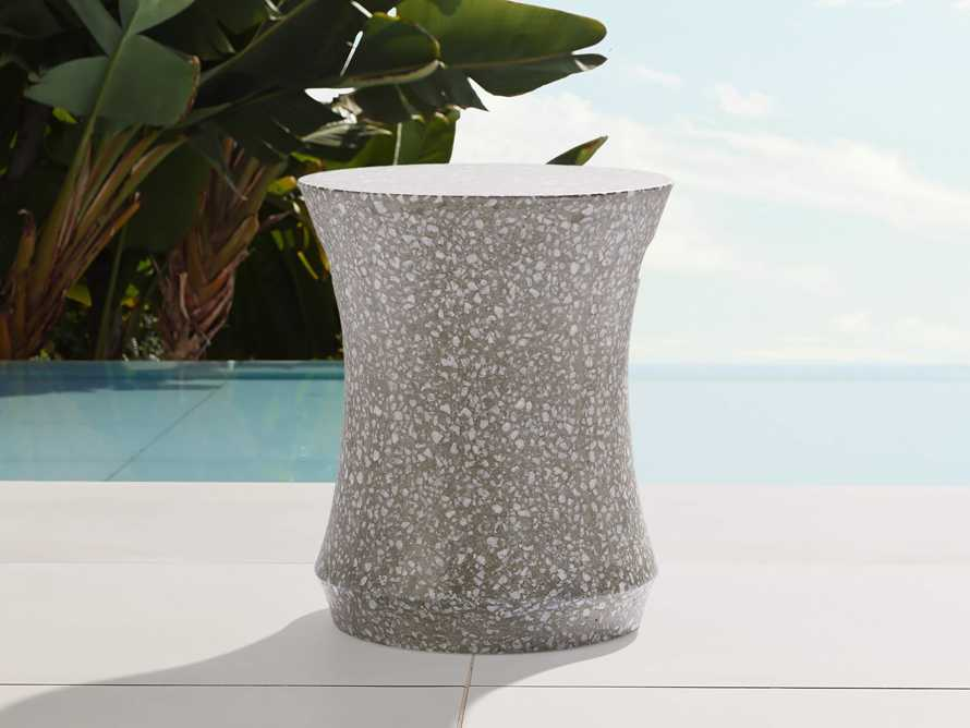 """Terrazzo Stool Outdoor 14.5"""" Stone End Table in Grey/white Terrazzo, slide 1 of 7"""