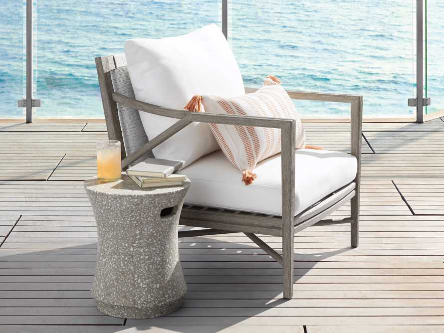 """Terrazzo Stool Outdoor 14.5"""" Stone End Table in Grey/white Terrazzo, slide 2 of 7"""