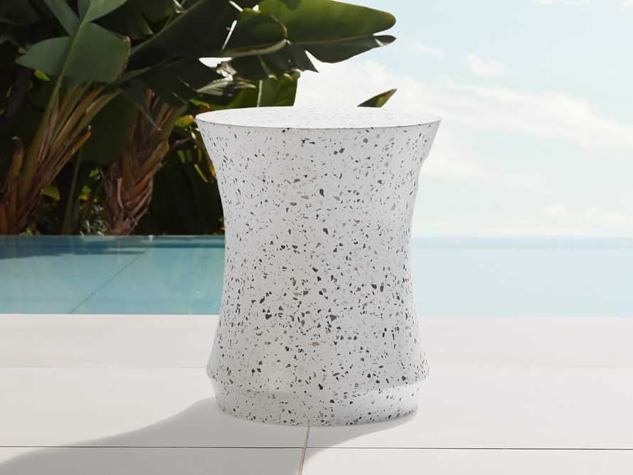 "Terrazzo Stool Outdoor 14.5"" Stone End Table in Rocky Beach Terrazzo, slide 1 of 5"