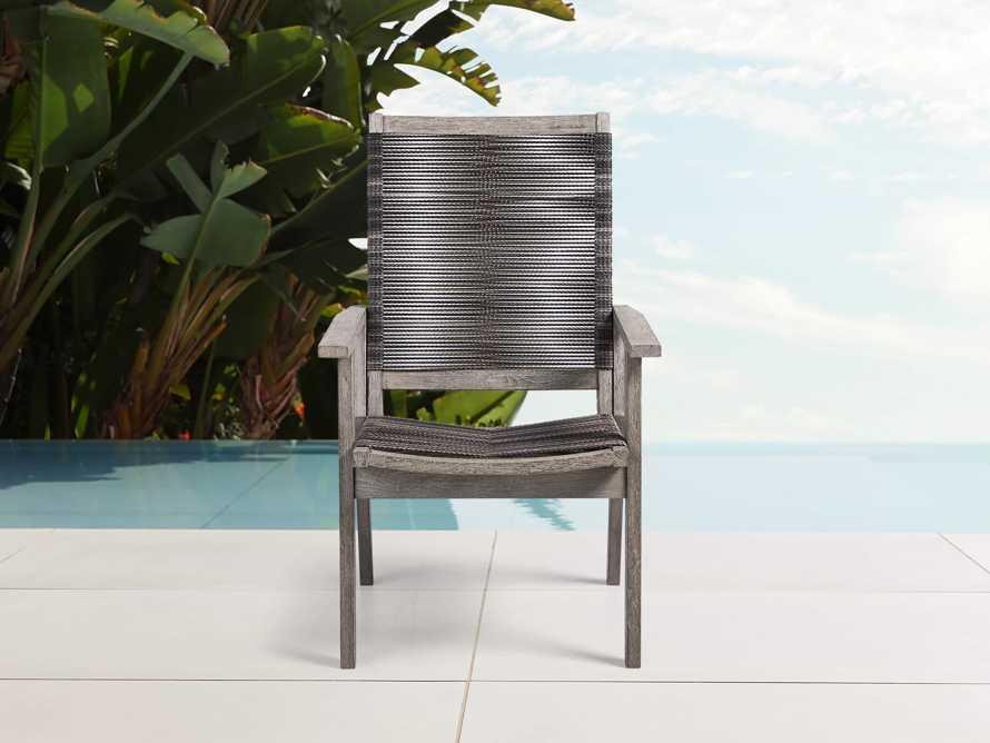 "Tulum Outdoor 26"" Dining Arm Chair in Charcoal, slide 1 of 9"