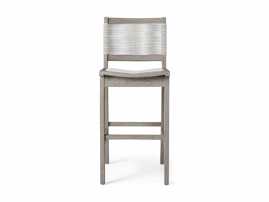 "Tulum Outdoor 18.25"" Barstool in Driftwood Grey/white, slide 2 of 5"