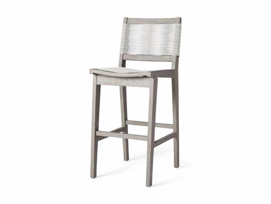 "Tulum Outdoor 18.25"" Barstool in Driftwood Grey/white, slide 3 of 5"