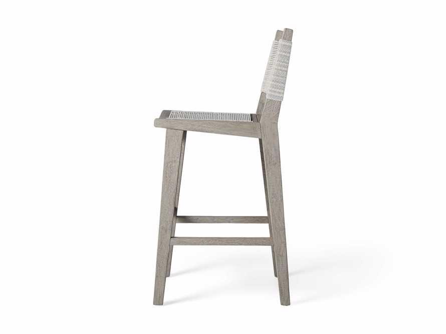 "Tulum Outdoor 18.25"" Barstool in Driftwood Grey/white, slide 4 of 5"