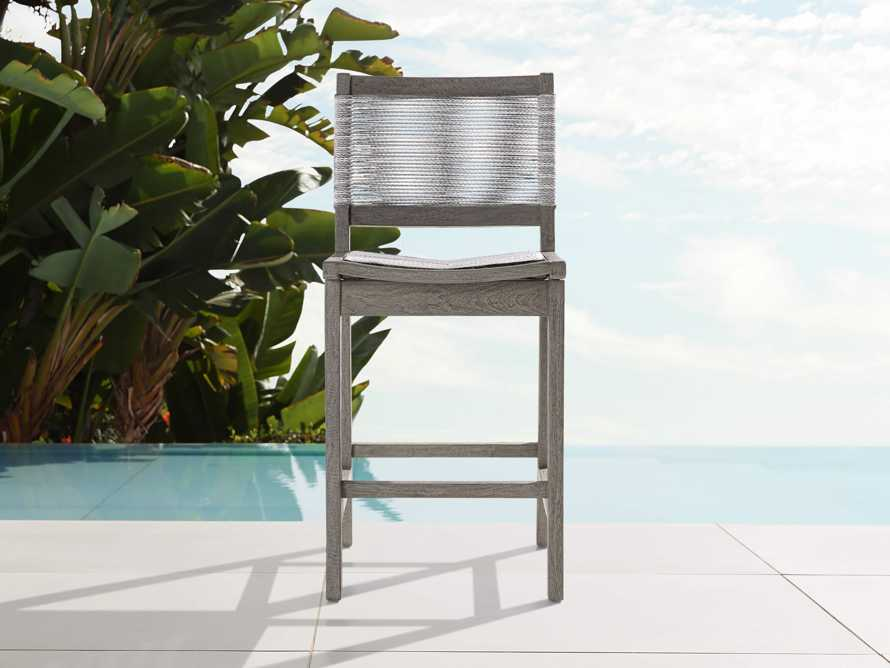 """Tulum Outdoor 18.25"""" Counter Stool in Driftwood Grey/White, slide 1 of 5"""