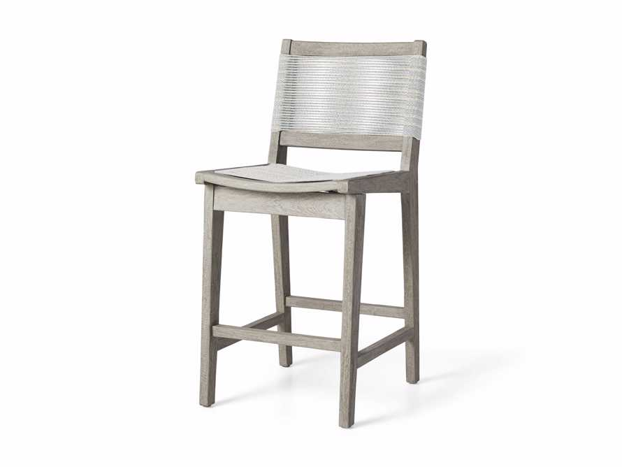"""Tulum Outdoor 18.25"""" Counter Stool in Driftwood Grey/White, slide 3 of 5"""