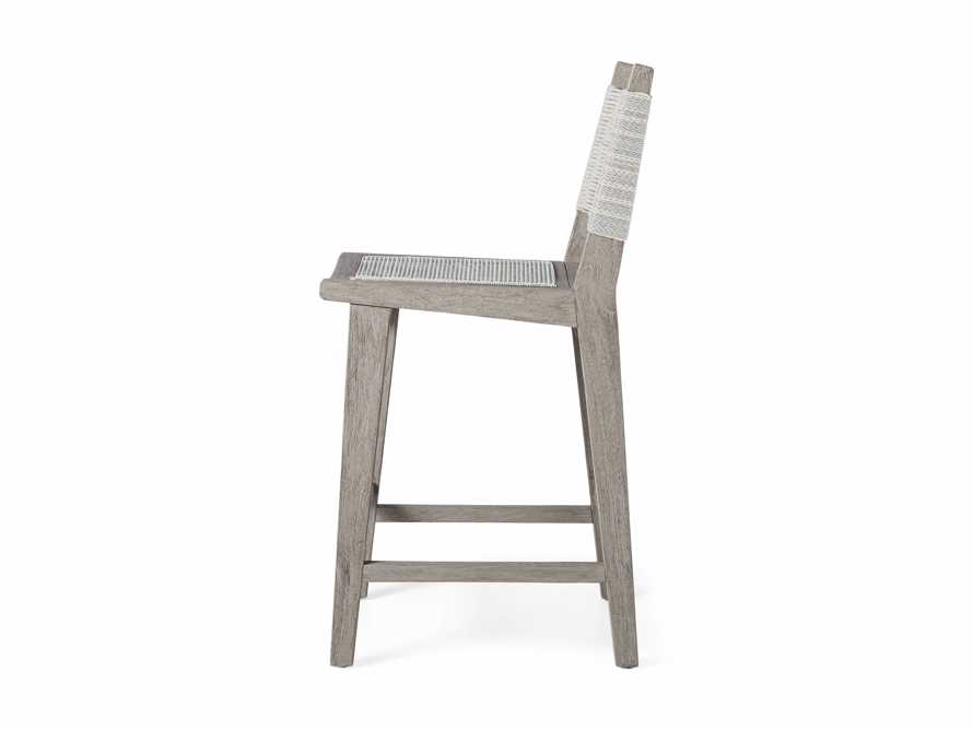 """Tulum Outdoor 18.25"""" Counter Stool in Driftwood Grey/White, slide 4 of 5"""