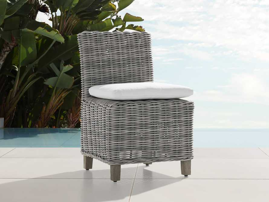 "Wyatt Outdoor Upholstered 24"" Dining Side Chair Vista Grey, slide 1 of 2"