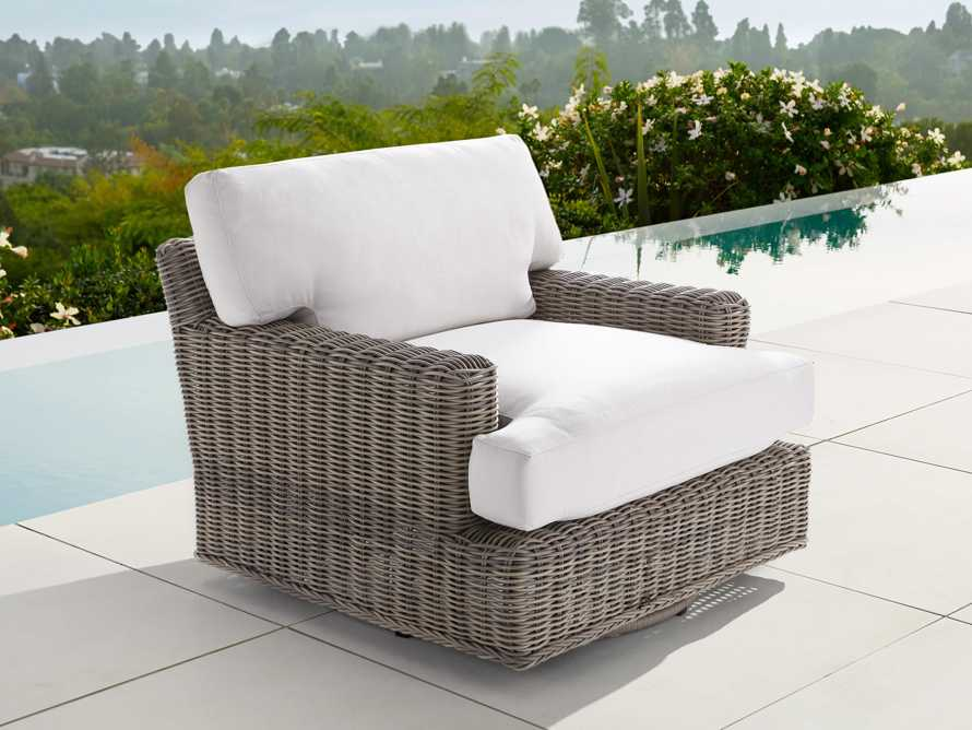 "Wyatt Outdoor 40"" Swivel Lounge Chair in Weathered Grey, slide 1 of 5"
