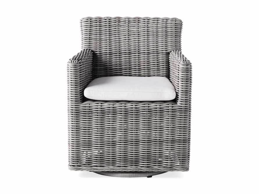 "Wyatt Outdoor Upholstered 27"" Dining Arm Chair in Vista Grey, slide 2 of 5"