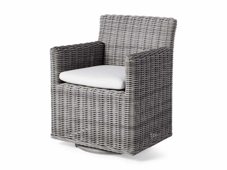 "Wyatt Outdoor Upholstered 27"" Dining Arm Chair in Vista Grey, slide 3 of 5"