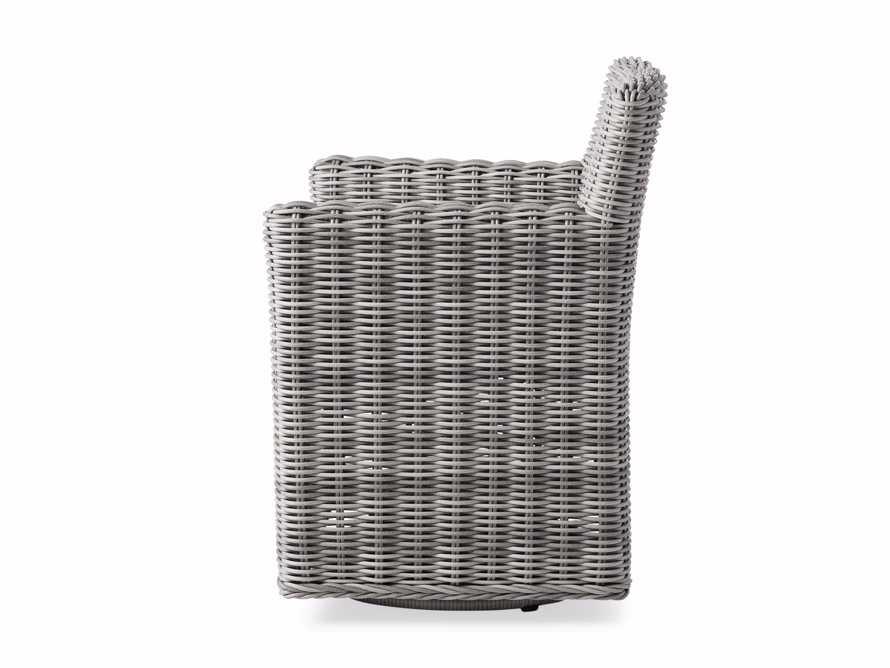 "Wyatt Outdoor Upholstered 27"" Dining Arm Chair in Vista Grey, slide 4 of 5"