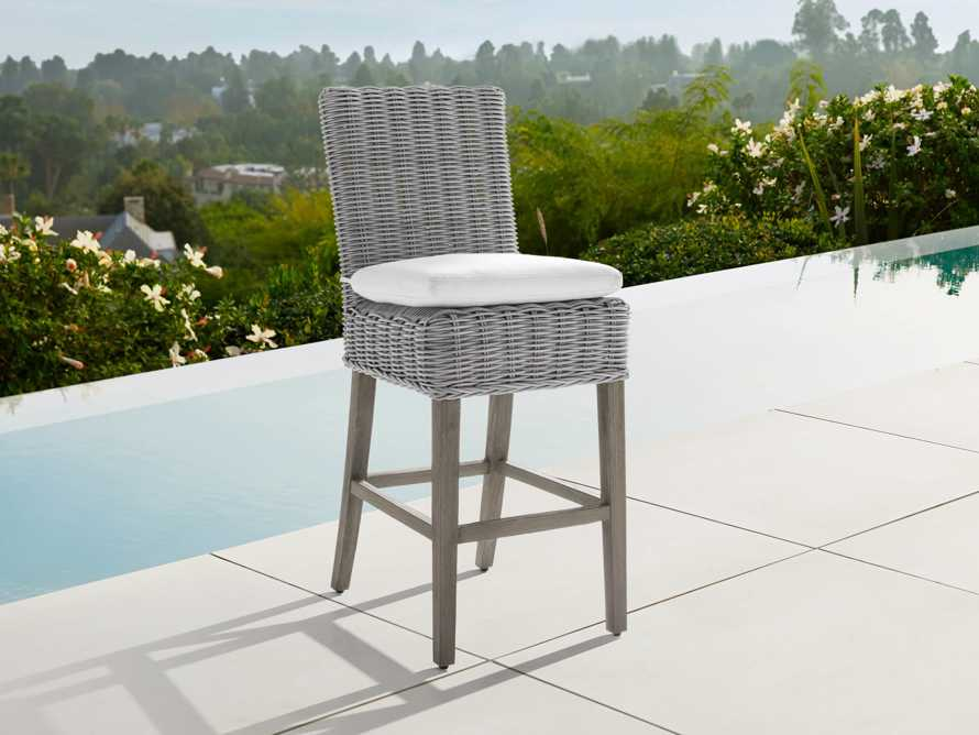 "Wyatt Outdoor 20"" Barstool in Vista Grey, slide 1 of 5"