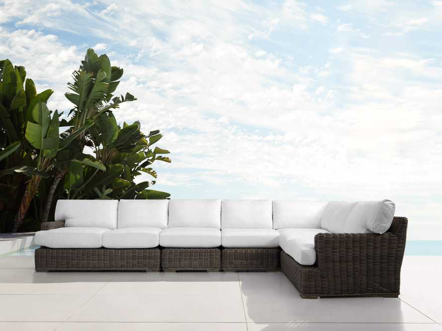 Wyatt Outdoor Five Piece L-Shaped Sectional in Dry Bark, slide 1 of 2