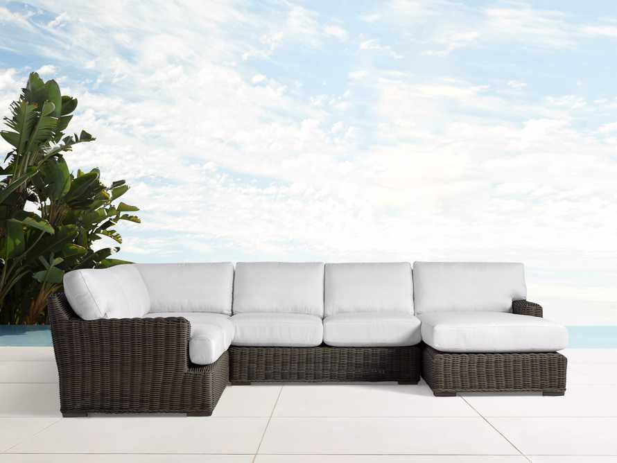 Wyatt Outdoor Four Piece Left Arm Sectional in Dry Bark, slide 1 of 2