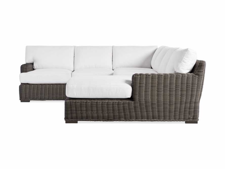 Wyatt Outdoor Four Piece Left Arm Sectional in Dry Bark, slide 3 of 4