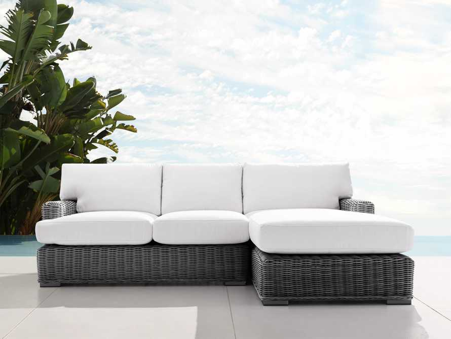 Wyatt Outdoor Two Piece Right Arm Sectional in Dark Charcoal, slide 1 of 4