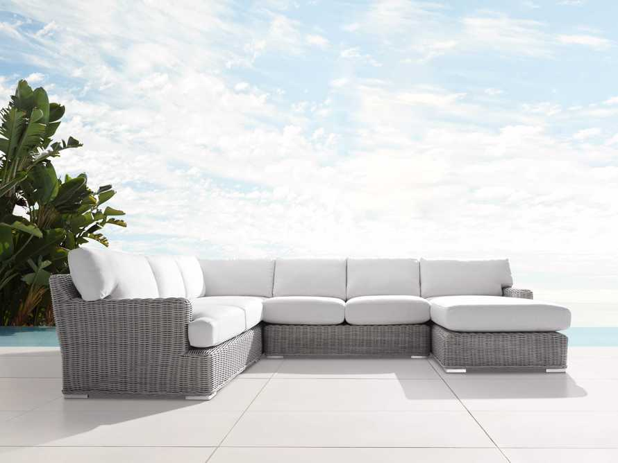 Wyatt Outdoor Four Piece Left Arm Sectional in Vista Grey, slide 1 of 4