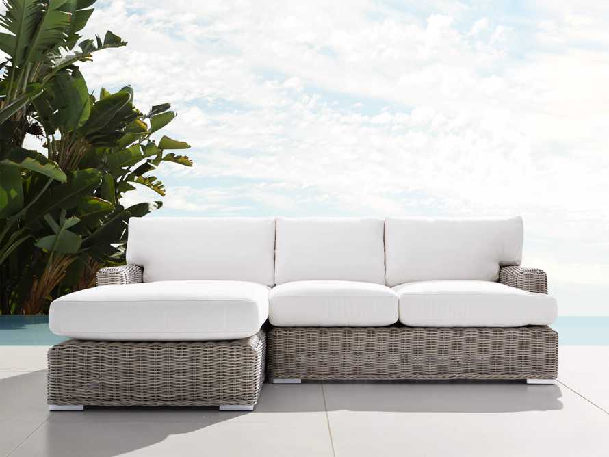 Wyatt Outdoor Two Piece Left Arm Sectional in Weathered Grey, slide 1 of 4