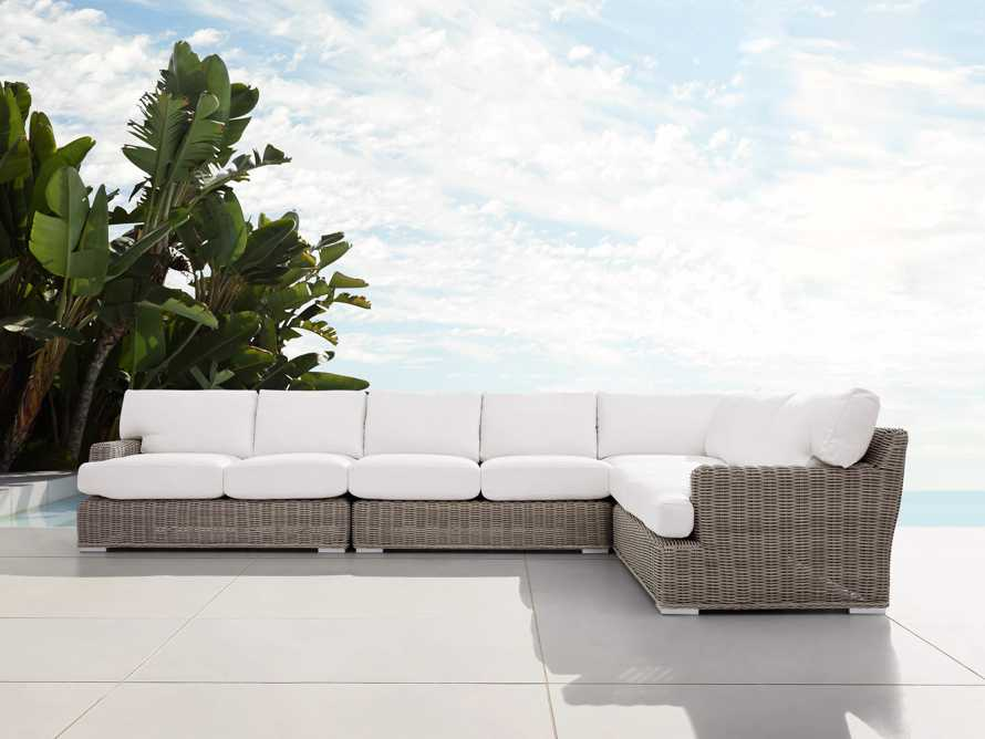 Wyatt Outdoor Four Piece L-Shaped Sectional in Weathered Grey, slide 1 of 4