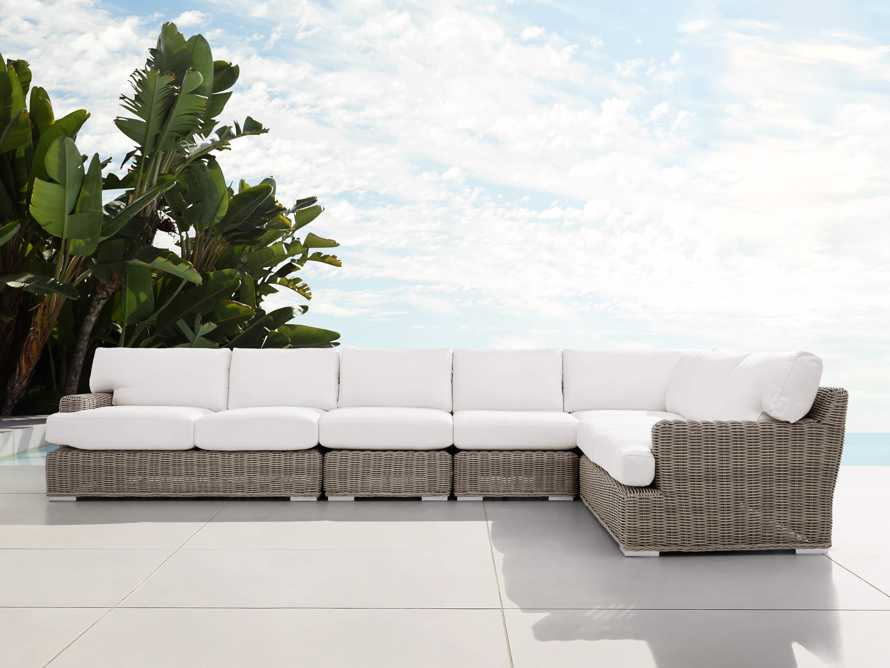 Wyatt Outdoor Five Piece L-Shaped Sectional in Weathered Grey, slide 1 of 4