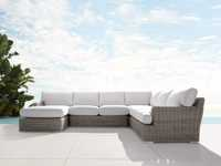 Wyatt Outdoor Four Piece Left Arm Sectional in Weathered Grey