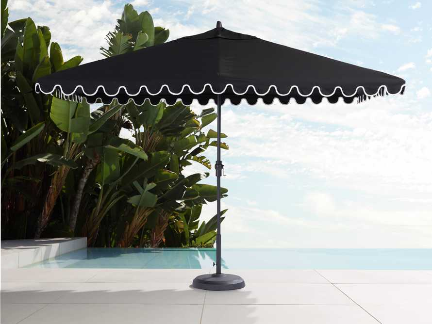 8' x 11' Rectangular Scalloped Umbrella in Canvas Black and Natural Trim with Black Frame, slide 1 of 4