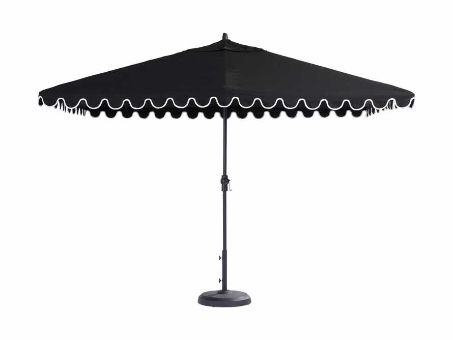 8' x 11' Rectangular Scalloped Umbrella in Canvas Black and Natural Trim with Black Frame, slide 4 of 4