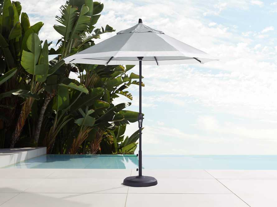9' Octagonal Border Umbrella in Canvas Granite and White Trim with Black Frame, slide 1 of 4