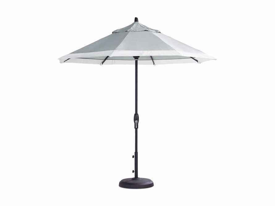 9' Octagonal Border Umbrella in Canvas Granite and White Trim with Black Frame, slide 4 of 4