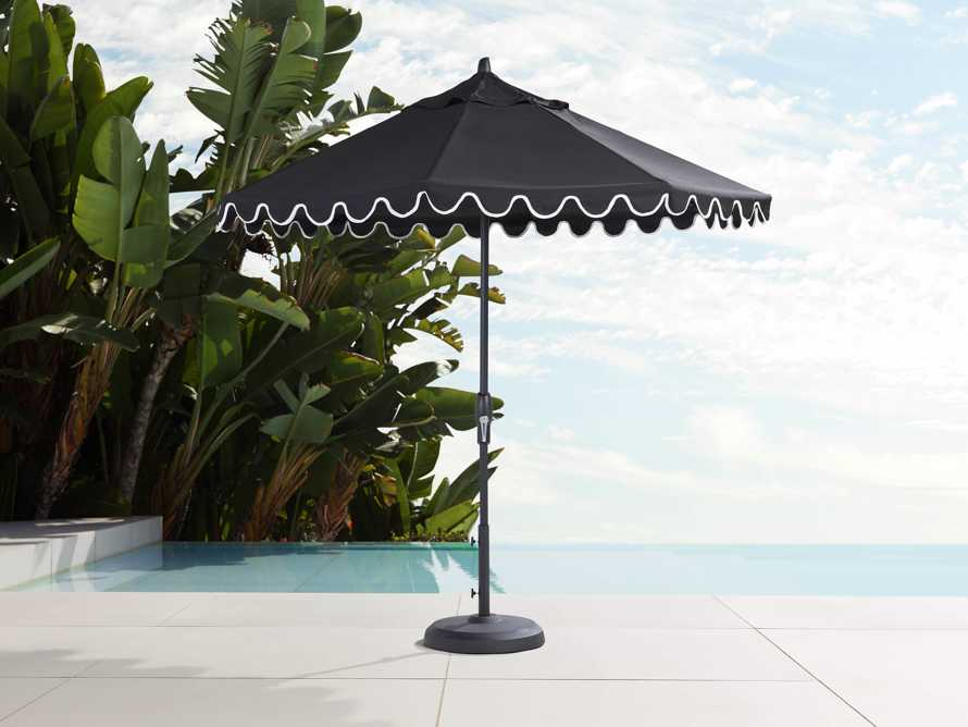 9' Octagonal Scalloped Umbrella in Canvas Black and Natural Trim with Black Frame, slide 1 of 4