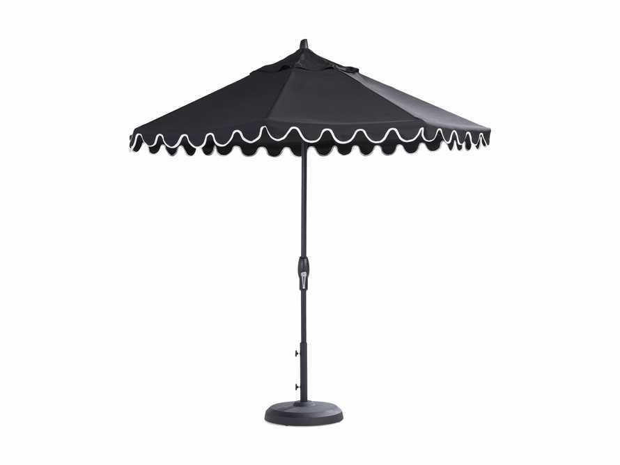 9' Octagonal Scalloped Umbrella in Canvas Black and Natural Trim with Black Frame, slide 4 of 4