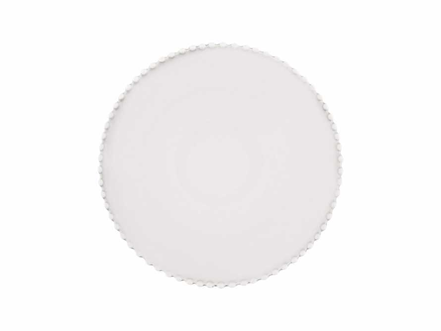 Avignon White Dinner Plate Set with Pearl Trim