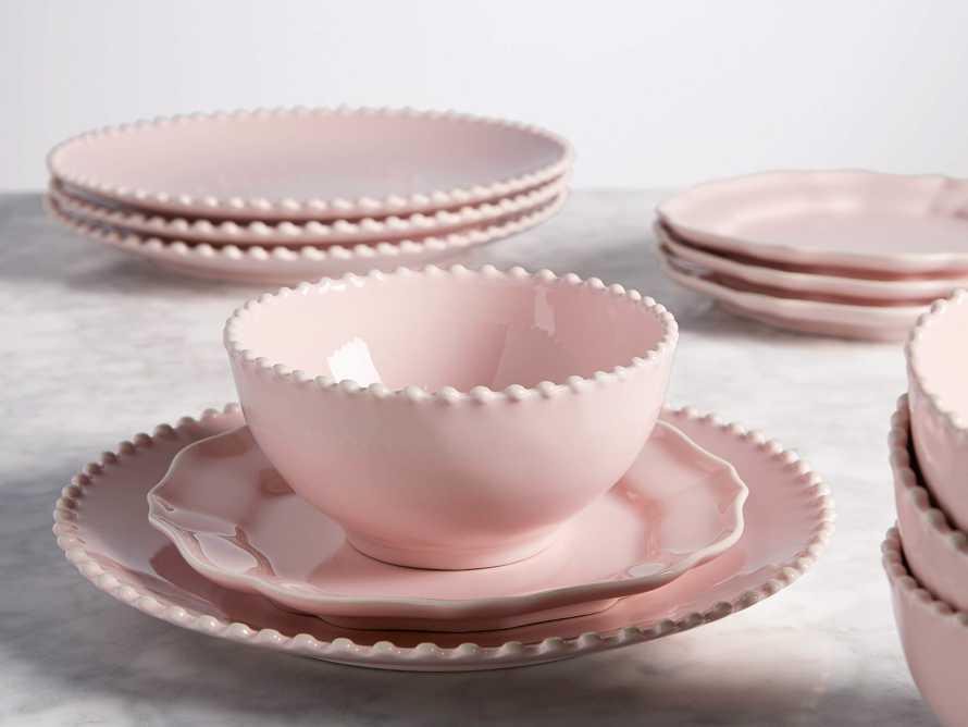 Avignon Blush Dinner Plates with Pearl Trim (Set of 4)