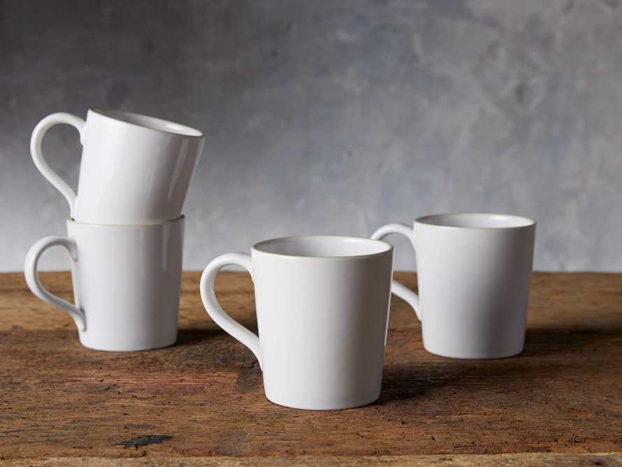 Avignon White Polished Mugs (set of 4), slide 2 of 4
