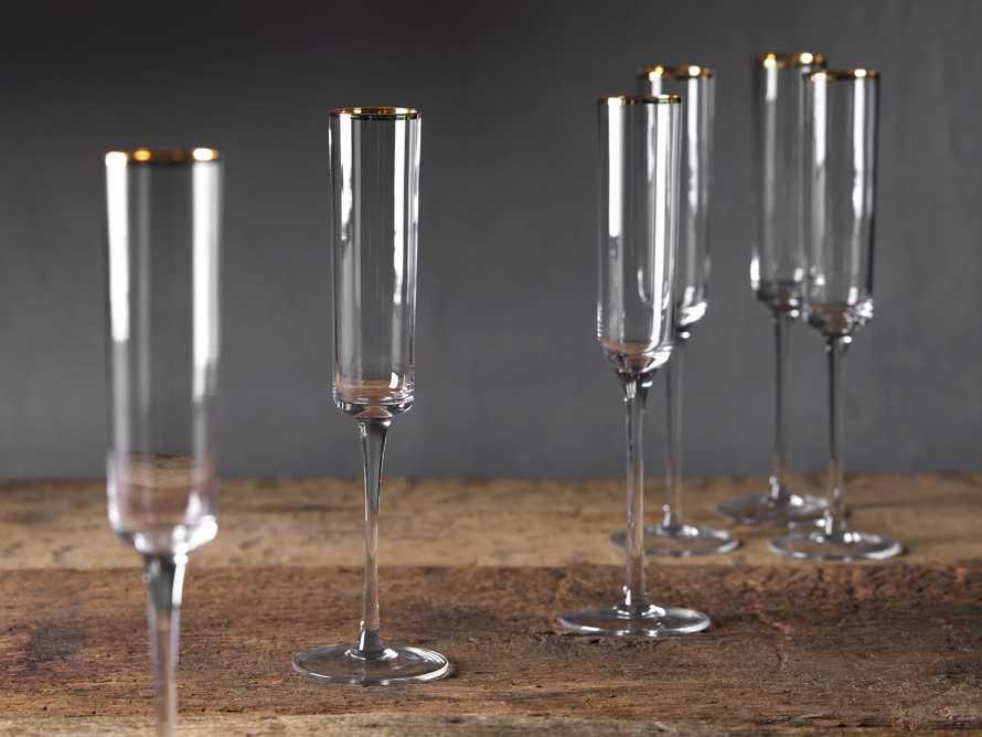 Gold Rimmed Champagne Flutes (Set of 6), slide 2 of 5
