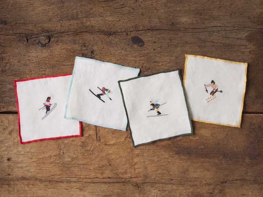 Set of 4 Skier Embroidered Cocktail Napkins, slide 1 of 2