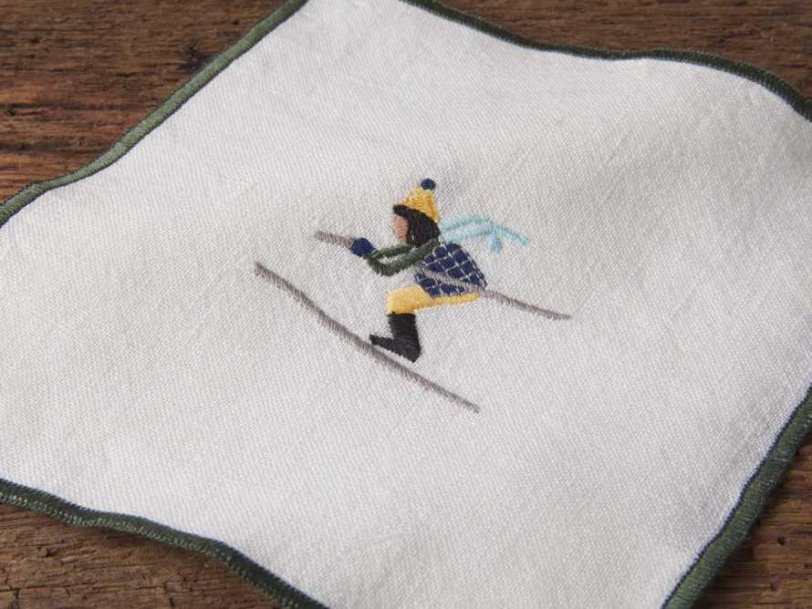Set of 4 Skier Embroidered Cocktail Napkins, slide 2 of 2