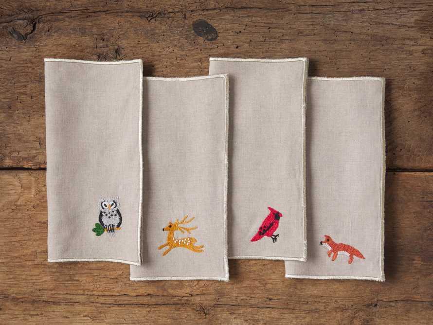 Set of 4 Woodland Animal Cocktail Napkin, slide 1 of 2