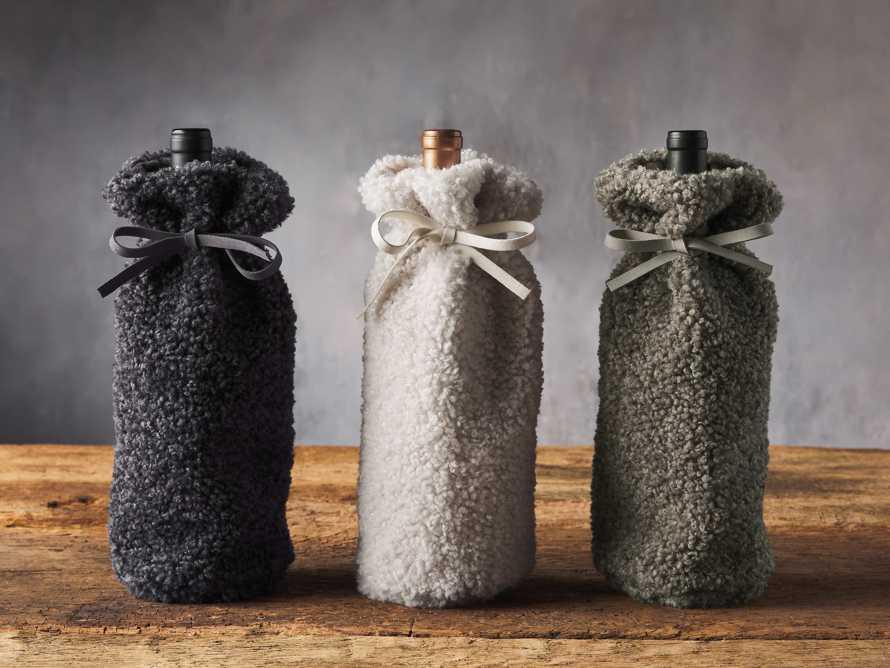 Charcoal Faux Sherpa Wine Bag, slide 3 of 3